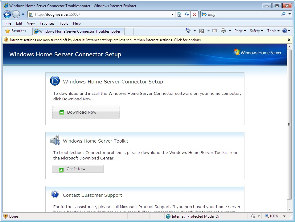 Windows home server connector web page picture image for Windows home page