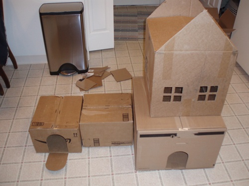 Cat Playhouse Out Of Boxes