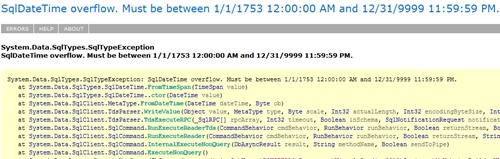how to fix sql datetime overflow