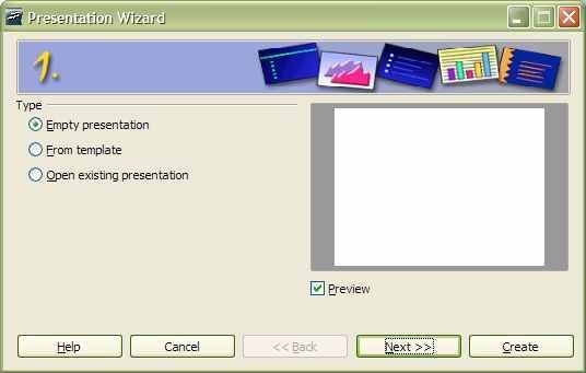 First Page of Presentation Wizard