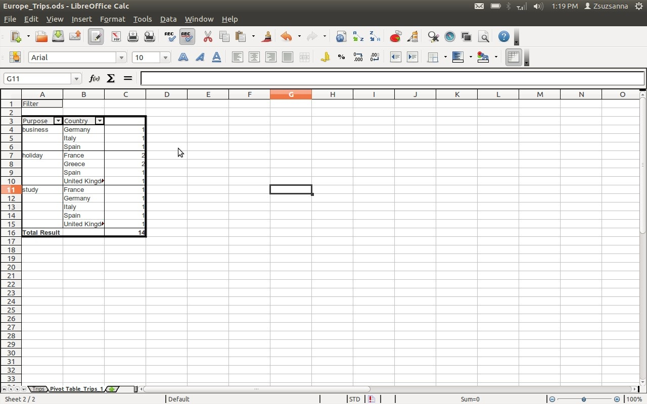 how to create pivot table in libreoffice